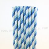 Blue and Light Blue Striped Paper Straws 500pcs