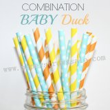 300pcs BABY DUCK Paper Straws Mixed