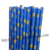 Blue Daisy Flower Paper Drinking Straws 500pcs
