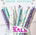300pcs SNOW SISTERS Frozen Paper Straws Mixed
