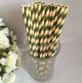 Dark Green and Thin Yellow Striped Paper Straws 500pcs