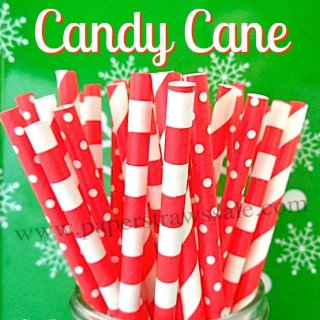 200pcs Candy Cane Red Paper Straws Mixed