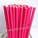 Plain Paper Drinking Straws Deep Pink 500pcs