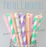 250pcs Pastel Carousel Theme Paper Straws Mixed