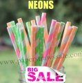 250pcs NEON Fluorescent Paper Straws Mixed