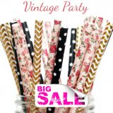 300pcs VINTAGE PARTY Wedding Paper Straws Mixed