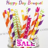 200pcs HAPPY DAY BOUQUET Themed Paper Straws Mixed