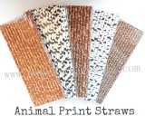 Animal Print Paper Straws 2500pcs Mixed 5 Colors