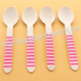 Hot Pink Striped Print Wooden Spoons 100pcs