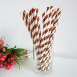 Brown and White Striped Paper Straws 500pcs