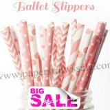 250pcs BALLET SLIPPERS Pink Paper Straws Mixed