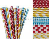 250pcs Blue Red Yellow Circus Paper Straws Mixed