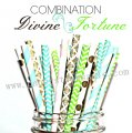 300pcs DIVINE FORTUNE Paper Straws Mixed