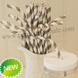 Bendy Paper Straws Grey Stripe Print 500pcs