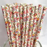 Colorful Flower Print Paper Drinking Straws 500pcs
