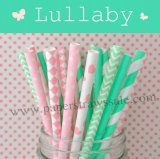 300pcs Lullaby Mint & Pink Paper Straws Mixed