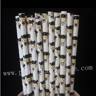 Baby Girl Kids Doll Print Paper Straws 500pcs
