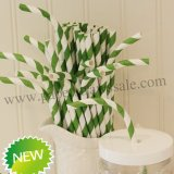 Kelly Green Striped Bendy Paper Straws 500pcs