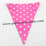 Deep Pink Polka Dot Party Paper Flags 20 Strings