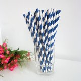 Maya Navy Blue Striped Paper Straws 500pcs