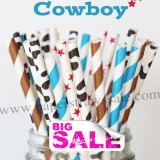 200pcs COWBOY Western Themed Paper Straws Mixed