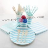 193 pieces/lot Party Tableware Kit Blue Stripe