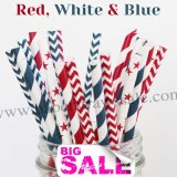 250pcs RED WHITE & BLUE Paper Straws Mixed