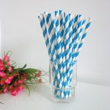 Sky Blue and White Striped Paper Straws 500pcs