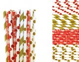 200pcs Gold and Red Christmas Paper Straws Mixed