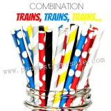 200pcs TRAINS Themed Party Paper Straws Mixed
