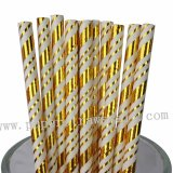 Christmas Gold Foil Stripe Paper Straws 500pcs