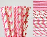 200pcs Hot Pink Themed Paper Straws Mixed