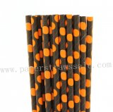 Black Paper Straws with Orange Polka Dot 500pcs
