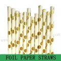 Metallic Gold Foil Polka Dot Paper Straws 500pcs