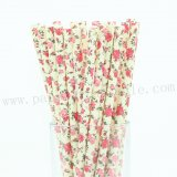 English Roses Flower Yellow Paper Straws 500pcs