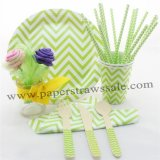 168 pieces/lot Green Chevron Party Tableware Set