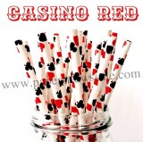 Casino Red Playing Cards Print Paper Straws 500pcs