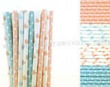 200pcs Baby Pink Light Blue Paper Straws Mixed