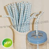 Chevron Bendy Paper Straws Light Blue 500pcs
