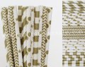 250pcs Metallic Gold Party Paper Straws Mixed