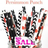 250pcs PERSIMMON PUNCH Themed Paper Straws Mixed