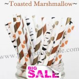 250pcs TOASTED MARSHMALLOWS Paper Straws Mixed