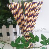 Thick Purple Thin Yellow Striped Paper Straws 500pcs