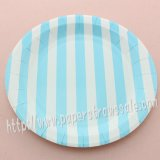 "9"" Round Paper Plates Blue Striped 60pcs"