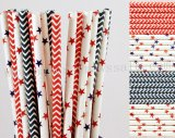 200pcs Patriotic Themed Party Paper Straws Mixed