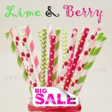 250pcs LIME & BERR Themed Paper Straws Mixed