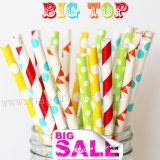 200pcs Big Top Themed Paper Straws Mixed