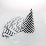 48pcs Black Chevron Paper Party Hats