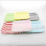 "1500pcs 7"" Striped Square Paper Plates Mixed 6 Colors"