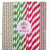 200pcs Christmas Party Paper Straws Mixed